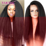 Yvonne 인간적인 Virgin 중국 머리 360 레이스 정면 가발 비꼬인 똑바른