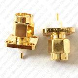 Terminais banhados a ouro Plugue Macho SMA Flange de 4 furos de montagem do painel de montagem de PCB de solda do adaptador do conector de RF