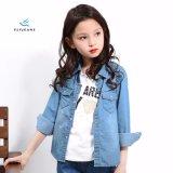 Camicia lunga blu-chiaro del denim del manicotto del cotone di modo per le ragazze dai jeans della mosca