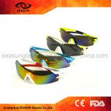 高品質型バイクの乗馬の循環のための一つレンズUV400の多色刷りの分極されたスポーツのサングラス
