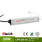 Wasserdichtes Aluminiumgehäuse 20W SMPS DC15V 1.4A LED regelte Stromversorgung