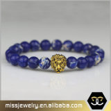 Il modo di pietra del Mens della testa del leone del braccialetto del Macrame borda il braccialetto