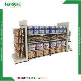 La madera y metal Supermercado Rack mostrar publicidad de Supermercados