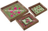 S/3 Square Vintage de impresión personalizada de la bandeja de madera que sirve w/Handle