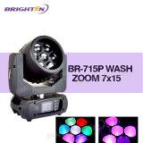 최고 소형 RGBW LED 이동하는 단계 빛 7*15W 세척 광속