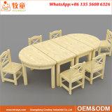 가구 6 시트 테이블과 의자가 초기 아동기 센터에 의하여 농담을 한다