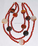 Moda Natural Crystal Stone Agate Bead Charming Necklace Jewelry