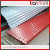 Hoja de acero acanalada galvanizada prepintada del material para techos