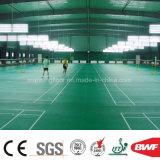 緑はセリウムのBwf Itf Ittfの証明書が付いている表のテニスコートのためのパターンPVCスポーツの床を蛇行させた