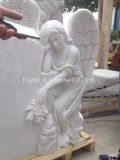 Надгробная плита ангела европейского типа белая мраморный