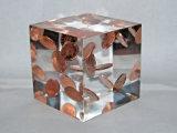 Pisapapeles acrílico transparente con monedas incrustación