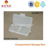 Caixa de armazenamento plástica de 2 compartimentos