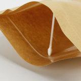 Fastfood- Beutel mit Reißverschlussbrown-Papier u. Weißbuch mit vollem Vierecks-Fenster