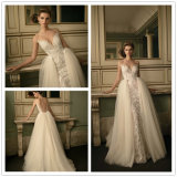 2017 fora do ombro Três quartos Overskirt Sweep Train Mermaid Wedding Dress (Dream-100043)
