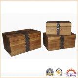 Caixa de armazenamento decorativo de madeira natural, caixa de jóias