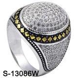 El oro amarillo CZ de la plata esterlina del anillo 925 de los hombres suena