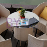 Insieme pranzante di vimini del patio del giardino della Tabella della presidenza del rattan esterno