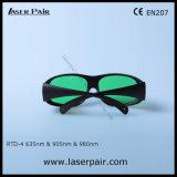37% transmitância de óculos de segurança do laser para os lasers vermelhos 635nm e 905nm/980nm Laser de diodo (IDT-4 630-660nm &800-830nm &900-1100nm) com a estrutura 33