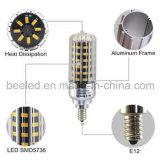 La luz E12 10W del maíz del LED calienta la lámpara de plata blanca del bulbo de la carrocería LED del color