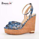 Zapatos de las sandalias de la cuña de los altos talones de señora Snake Pattern Women Cork