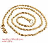 Catena della corda dell'acciaio inossidabile di doratura elettrolitica per la collana ed il braccialetto di modo