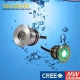 indicatore luminoso subacqueo del raggruppamento messo LED di 1W IP68 DC24V RGB con il regolatore