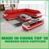 Base de madeira do sofá do couro genuíno da sala de visitas