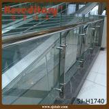 Barandilla de la escalera/escalera de cristal que cerca el poste de cristal del acero con barandilla inoxidable (SJ-S082)