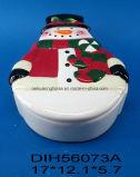Contenitore Pupazzo di neve-A forma di di ceramica dipinto a mano di biscotto