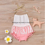 Da cabeçada Backless dos bebés do Bodysuit do Pompom dos Tassels da tala da cabeçada do Romper dos bebés do Romper do bebê o Romper Backless Sunsuit do Pompom dos Tassels da tala veste Esg10177