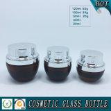 Bernsteinfarbene Kosmetikglas-Lotion-Flaschen mit Silber-Pumpenkappe