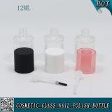 quadratische leere Glas12ml nagellack-Flasche mit runder Nagel-Pinsel-Schutzkappe