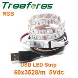 luz da noite do diodo emissor de luz do RGB da lâmpada da tira do diodo emissor de luz do USB 5V