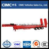 Cimc 3 Axle 50ton Semi-remorque à lit bas pour transport de bulldozer