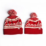 Истинный север крутящего момента для взрослых из жаккардовой ткани листьев Канада зимой Red Hat с POM POM