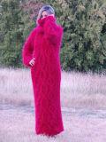 O OEM tricota manualmente o vestido da camisola do casaco de lã do cabo com capa