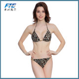 As mulheres empurre para cima Leopard Stripes Linga Sexy Bikini roupa de banho