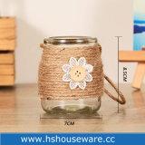 Vaas van het Glas van de bloem en van de Knop de Mini met de Kabel van de Jute