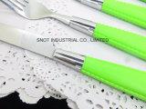 Vastgestelde Ss van het Tafelgereedschap van het Roestvrij staal van het Handvat van het tafelgereedschap Vastgestelde Plastic Reeks