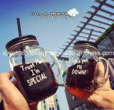 Le verre tasse tasse tasse en verre avec couvercle Staw Mason