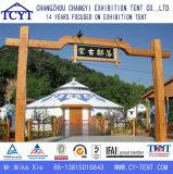 Familie touristisches kampierendes mongolisches Yurt Bambuszelt