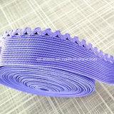 25mmの習慣カラーサテンの表面ピコの端の下着のためのナイロンスパンデックスのウエストのゴム