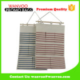 Canvas Stripe Durable Hanging Jewelry Organizer Storage Bag