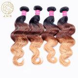 Cabello 100% virgen cuerpo indio ola tres tonos de color cabello humano.