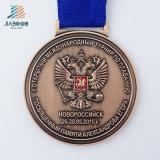 Medaglia corrente di sport dell'oro antico in lega di zinco su ordinazione del gufo