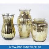 Vaso di vetro della decorazione domestica dorata, vaso di vetro del fiore della Tabella