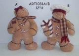 Стоящие Gingerbread и младенец, украшение Asst-Рождества 2