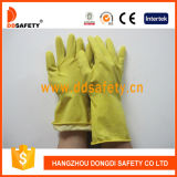 Ddsafety 2017 Yellow Household Latex Glove Flock Alinhado Diamond Grip
