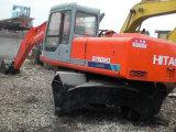 Japão-Fazer a máquina escavadora usada 0.6cbm/16ton do pneu de Hitachi Ex160wd da Hidráulico-Bomba do Isuzu-Motor 6cylinders