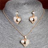 Insieme di cristallo dei monili del fiore dello smalto degli orecchini della collana